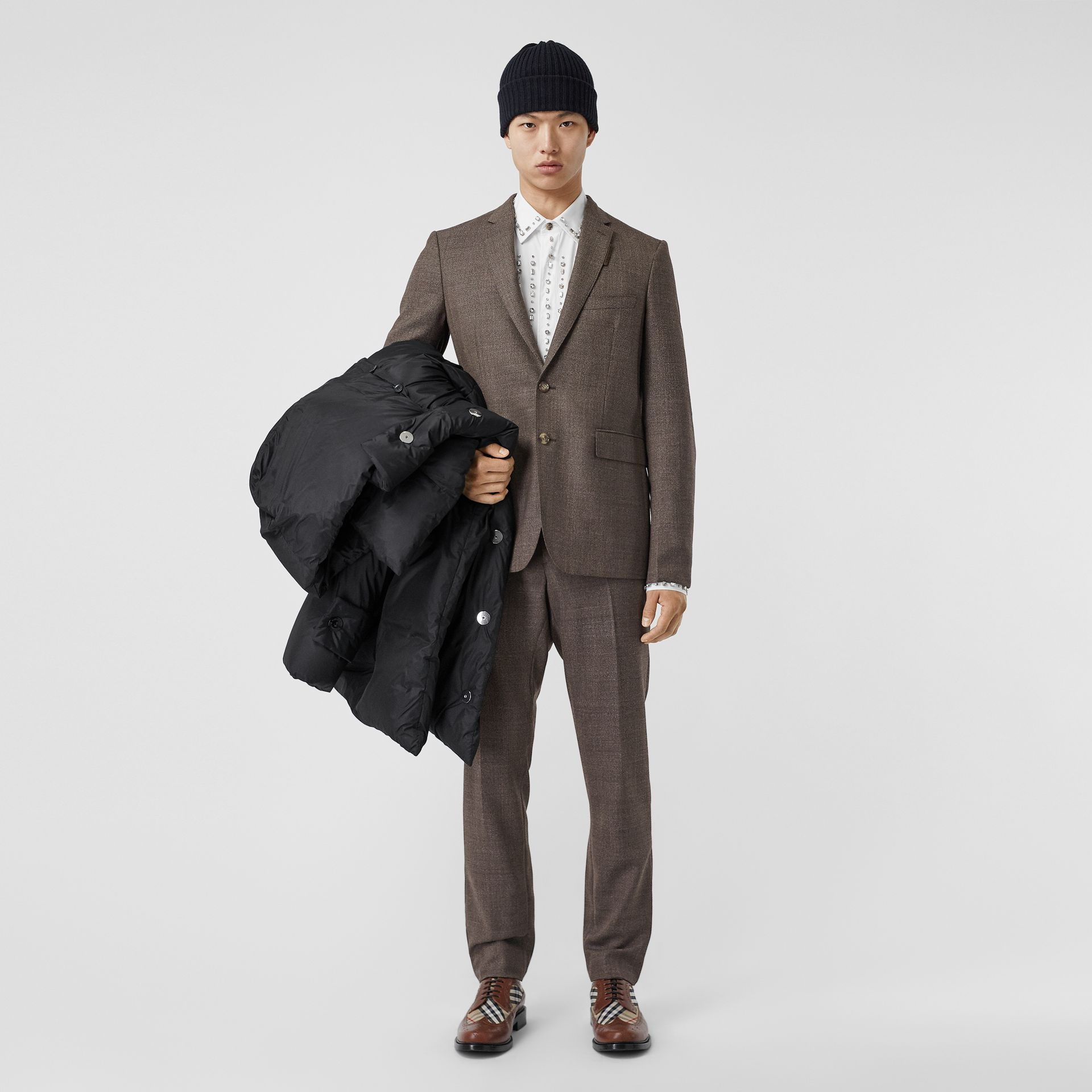 Slim Fit Wool Suit in Dark Brown - Men | Burberry - gallery image 0