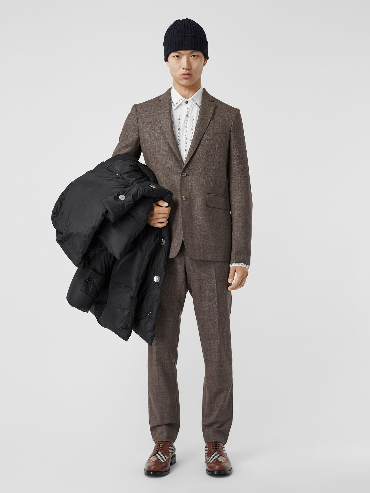 Slim Fit Wool Suit (Dark Brown)