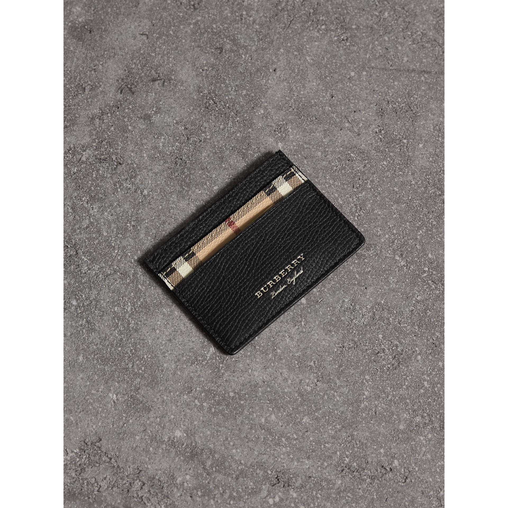 Haymarket Check and Leather Card Case in Black | Burberry - gallery image 0
