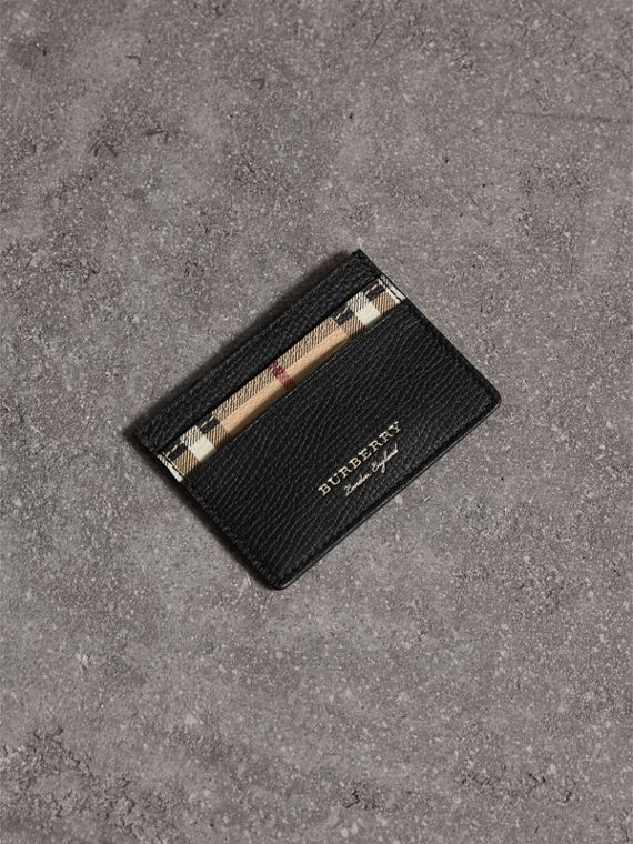 Haymarket Check and Leather Card Case in Black