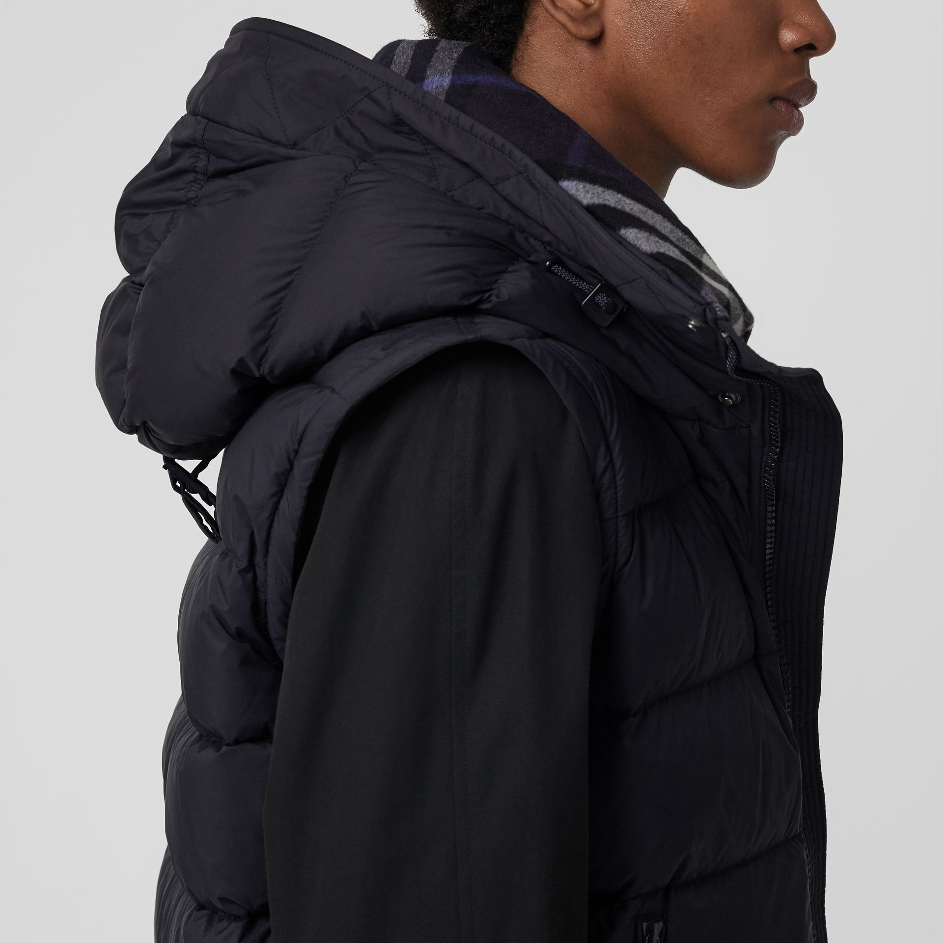 Detachable-sleeve Down-filled Hooded Puffer Jacket in Navy - Men | Burberry United Kingdom - gallery image 5