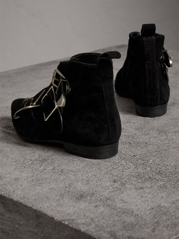 Buckle Detail Suede Ankle Boots in Black - Women | Burberry - cell image 2