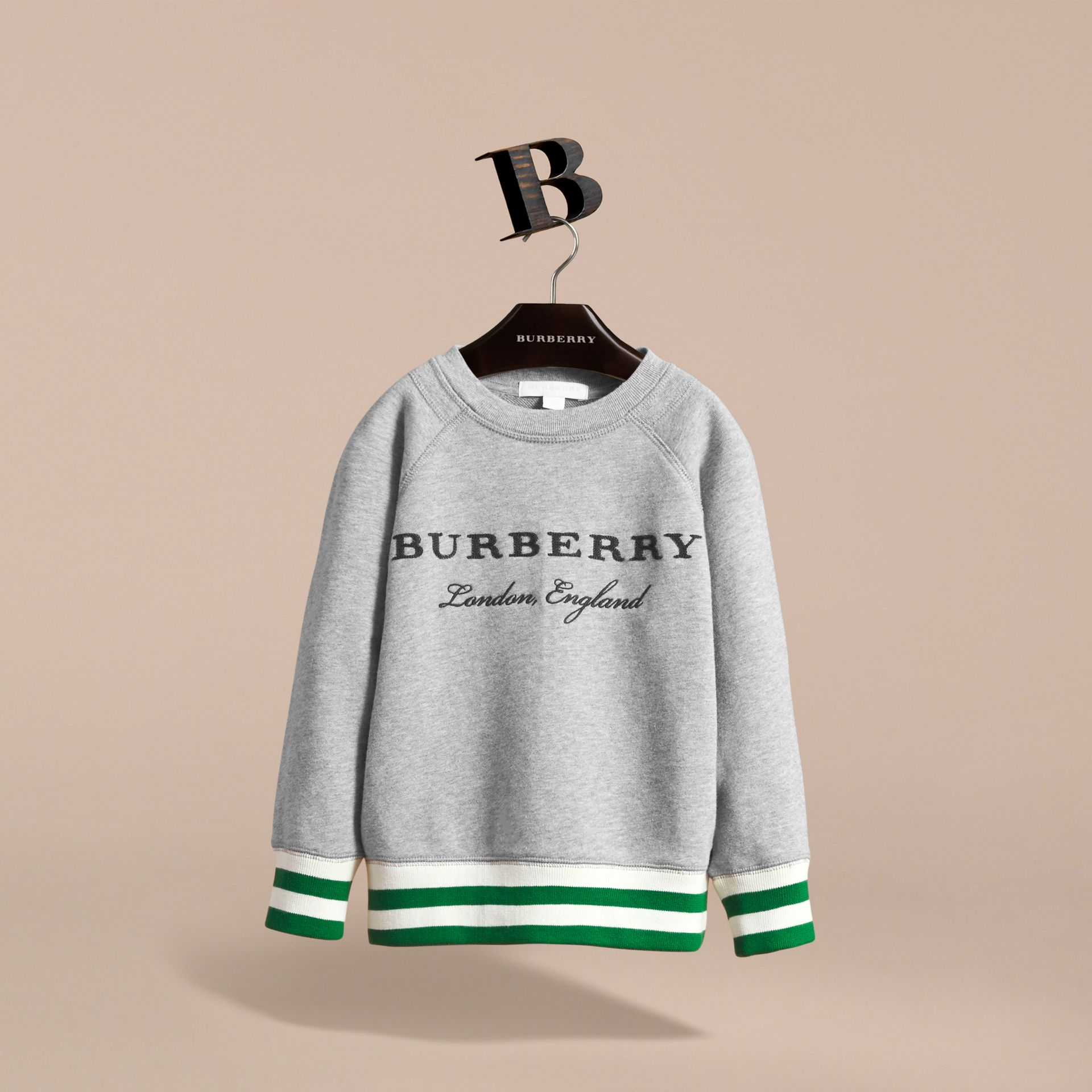 Contrast Stripe Cotton Jersey Sweatshirt - Boy | Burberry - gallery image 2