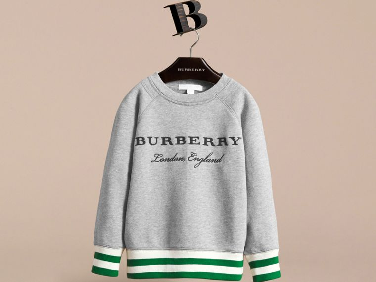 Contrast Stripe Cotton Jersey Sweatshirt - Boy | Burberry - cell image 1