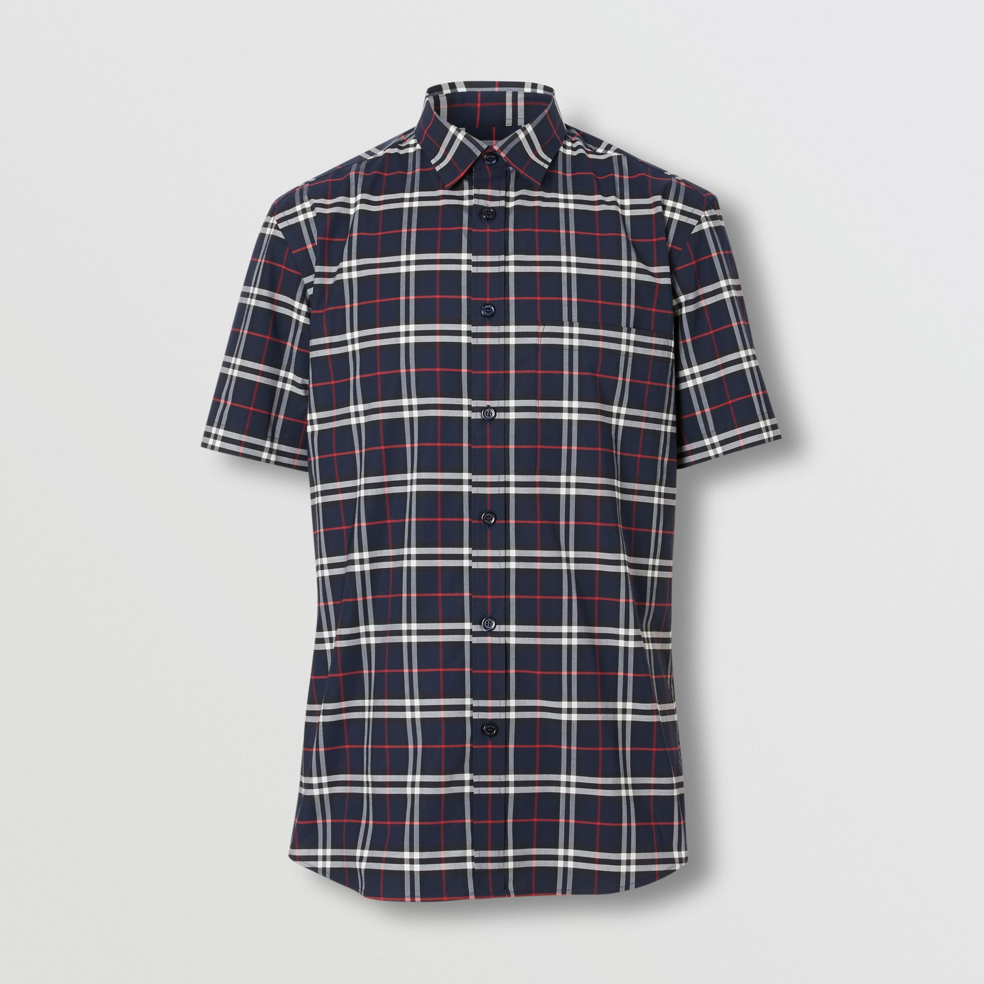 Short-sleeve Small Scale Check Stretch Cotton Shirt in Navy - Men | Burberry - gallery image 3
