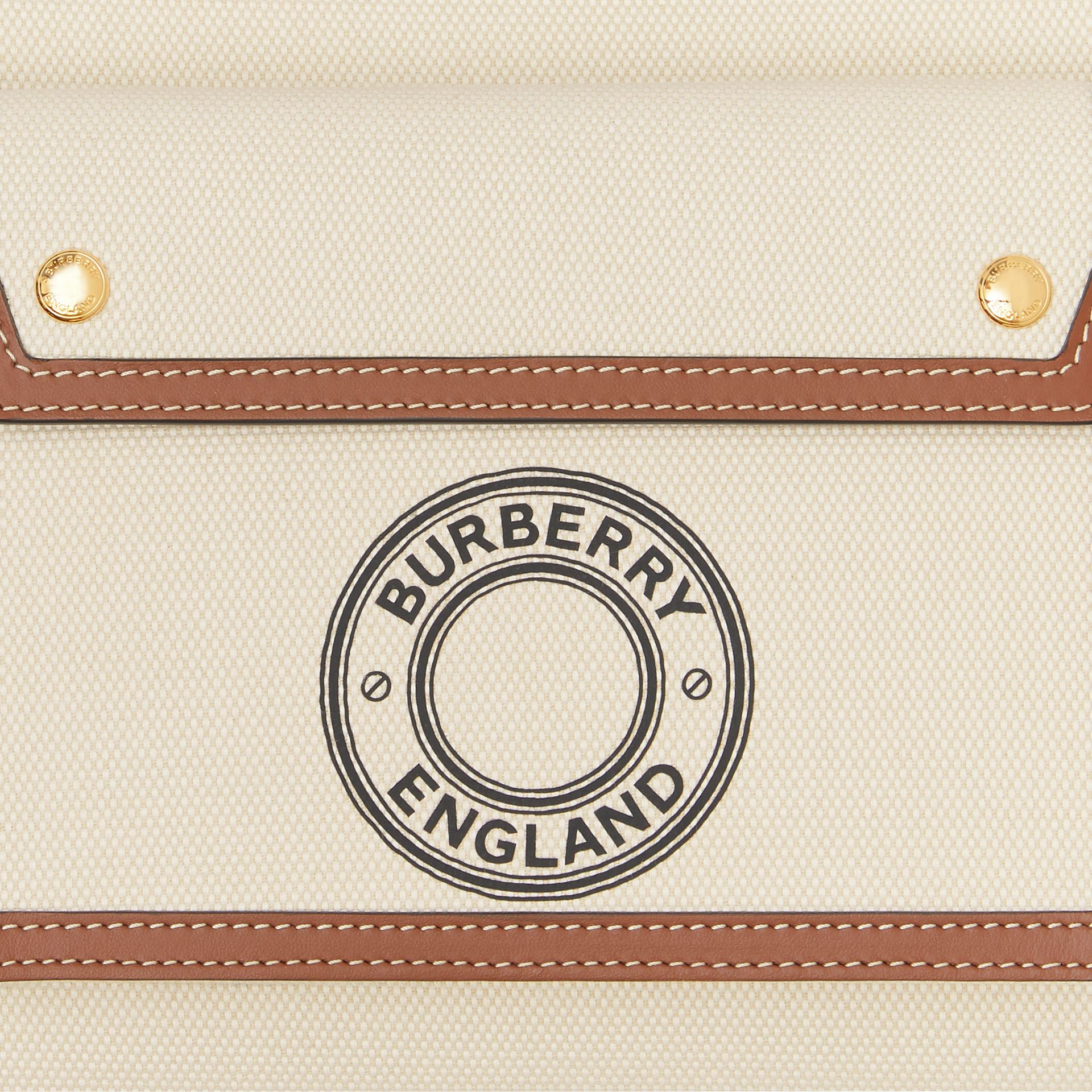Mini Logo Graphic Canvas and Leather Pocket Bag in Tan - Women | Burberry Australia - gallery image 1