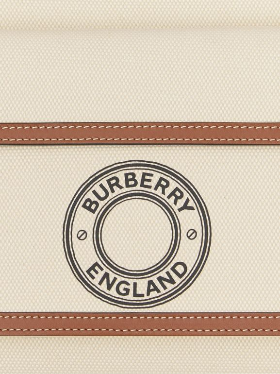 Mini Logo Graphic Canvas and Leather Pocket Bag in Tan - Women | Burberry United States - cell image 1