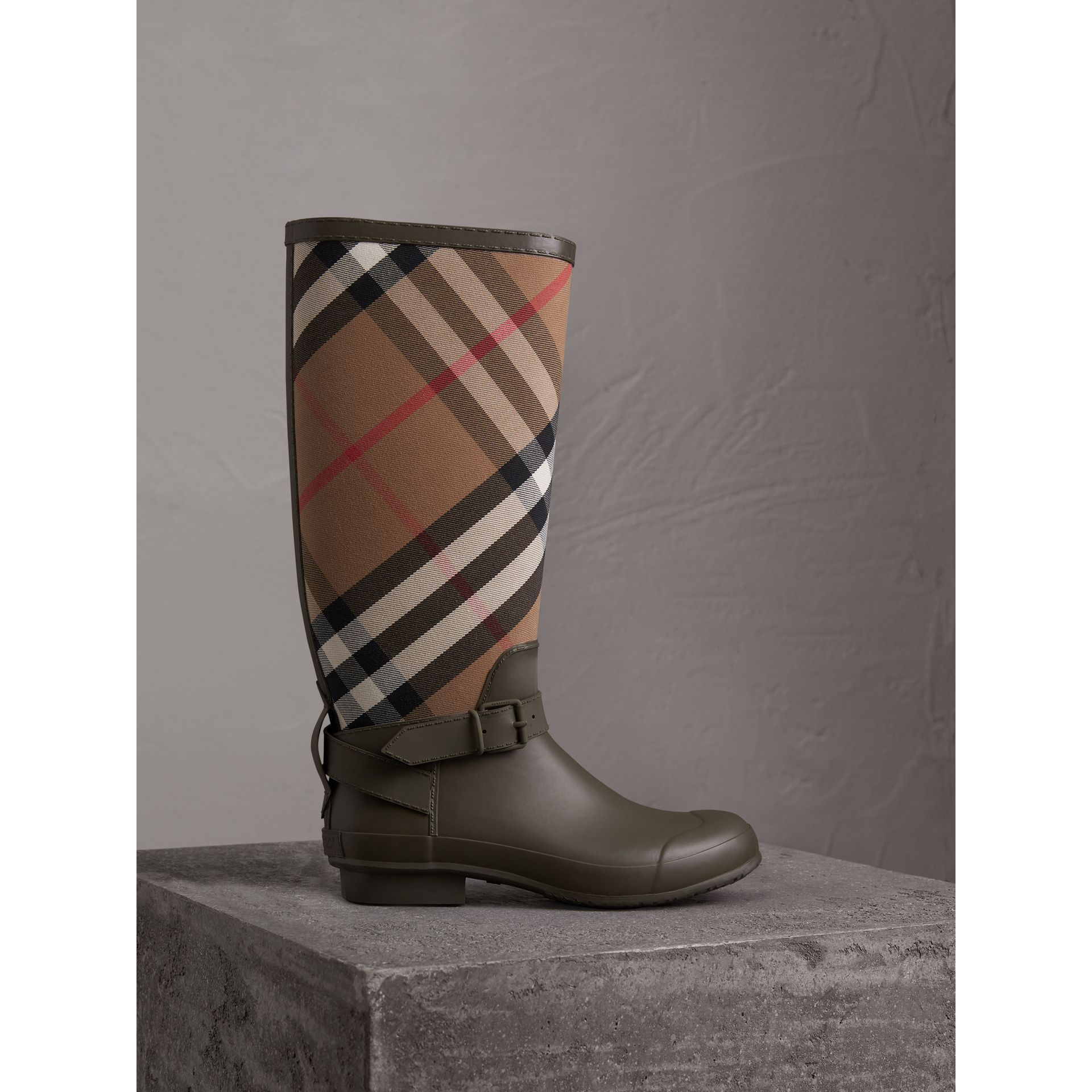 Belt Detail House Check and Rubber Rain Boots in Military Green - Men | Burberry - gallery image 1