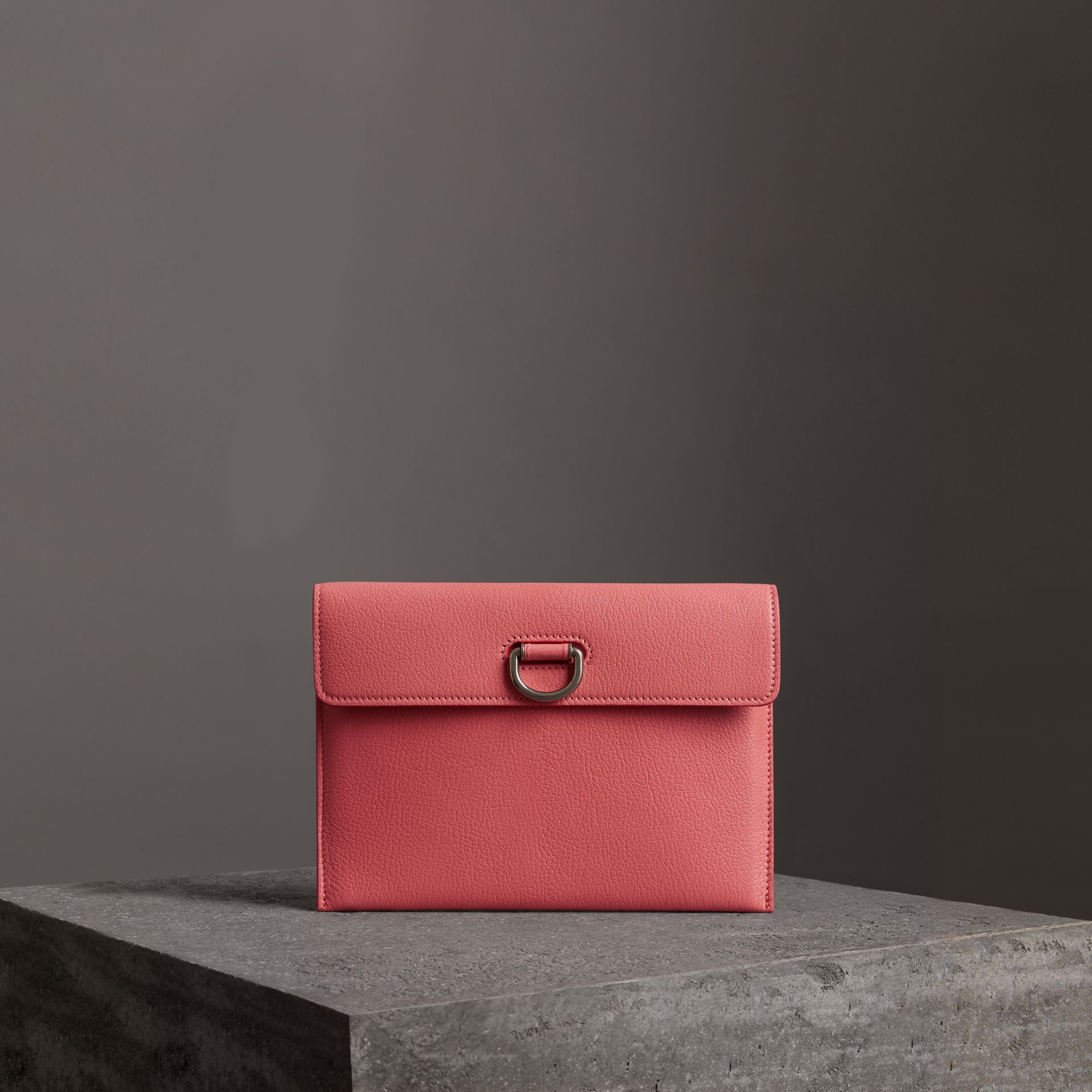 D-ring Leather Pouch with Zip Coin Case in Bright Coral Pink - Women | Burberry Hong Kong - gallery image 0