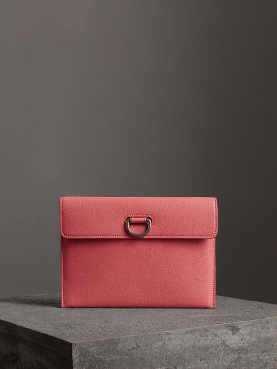 D-ring Leather Pouch with Zip Coin Case in Bright Coral Pink
