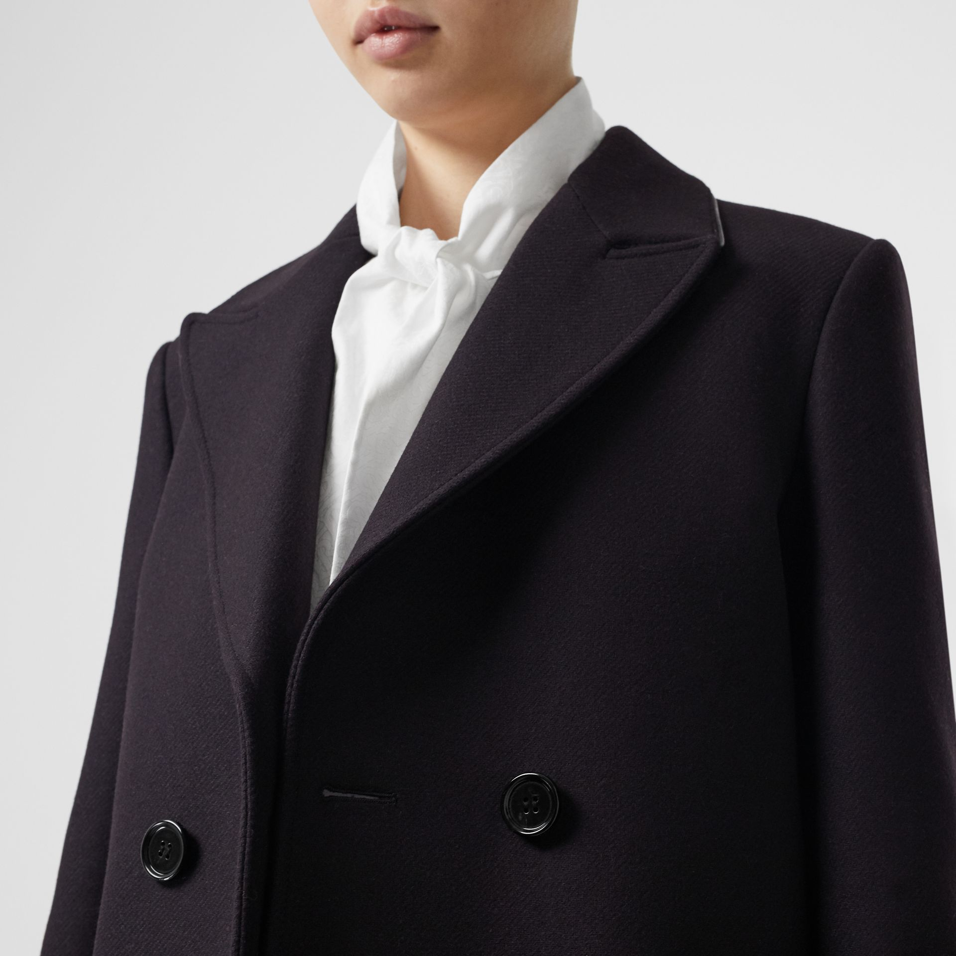 Lambskin Trim Wool Cashmere Blend Tailored Coat in Black Maroon - Women | Burberry - gallery image 5