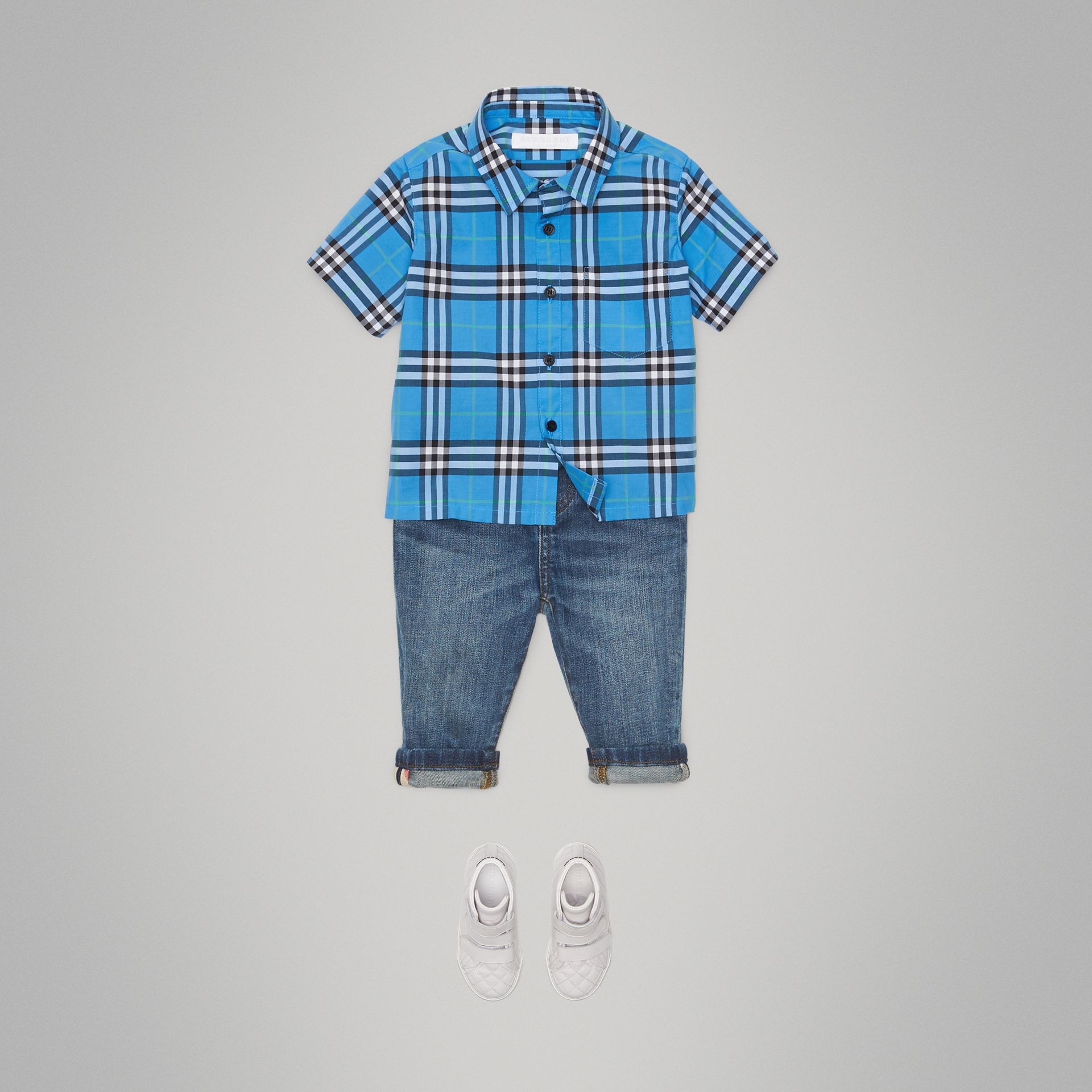 Short-sleeve Check Cotton Shirt in Azure Blue - Children | Burberry - gallery image 2
