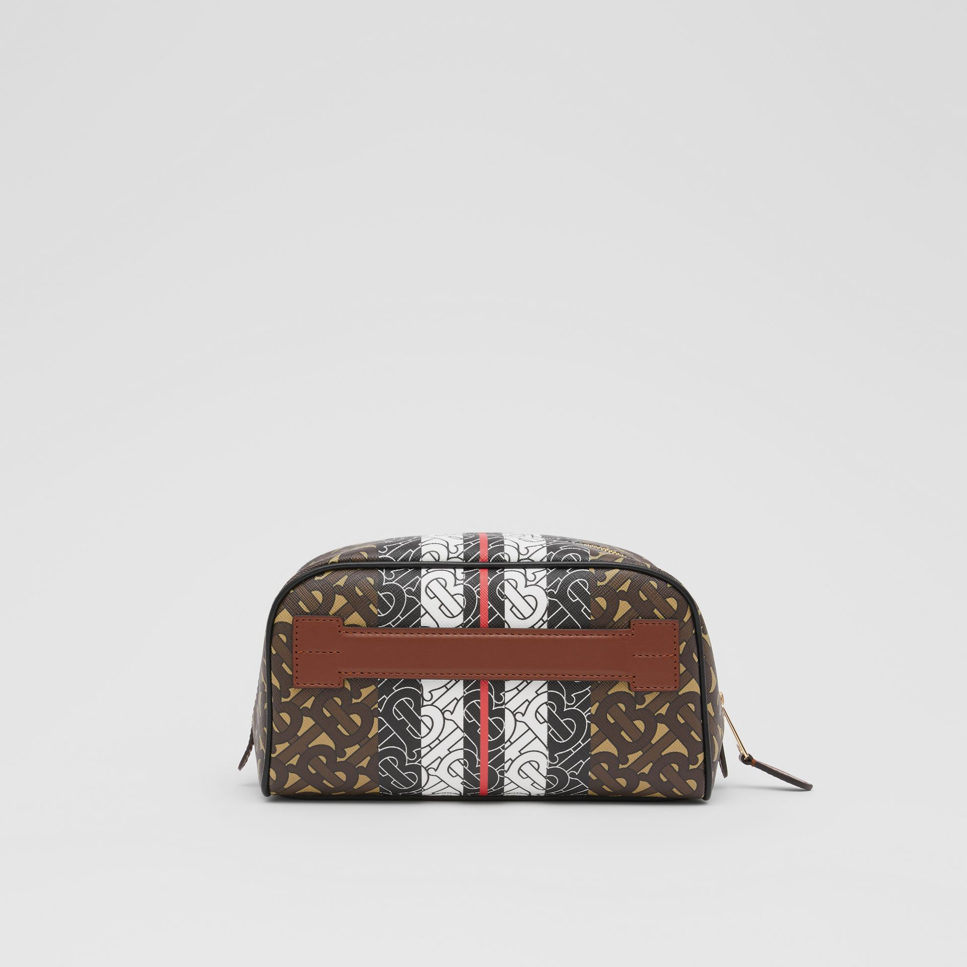 Monogram Stripe E-canvas Travel Pouch in Bridle Brown - Women | Burberry United Kingdom - gallery image 5