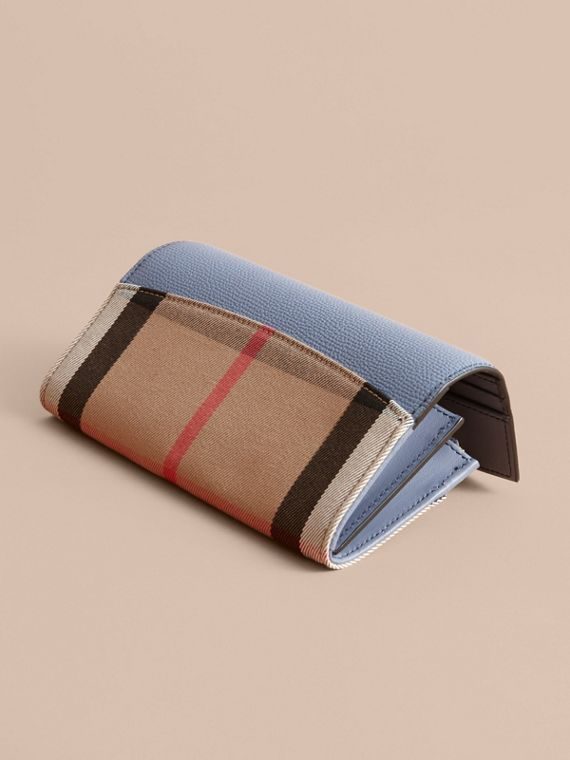 House Check And Leather Continental Wallet in Slate Blue - Women | Burberry - cell image 3