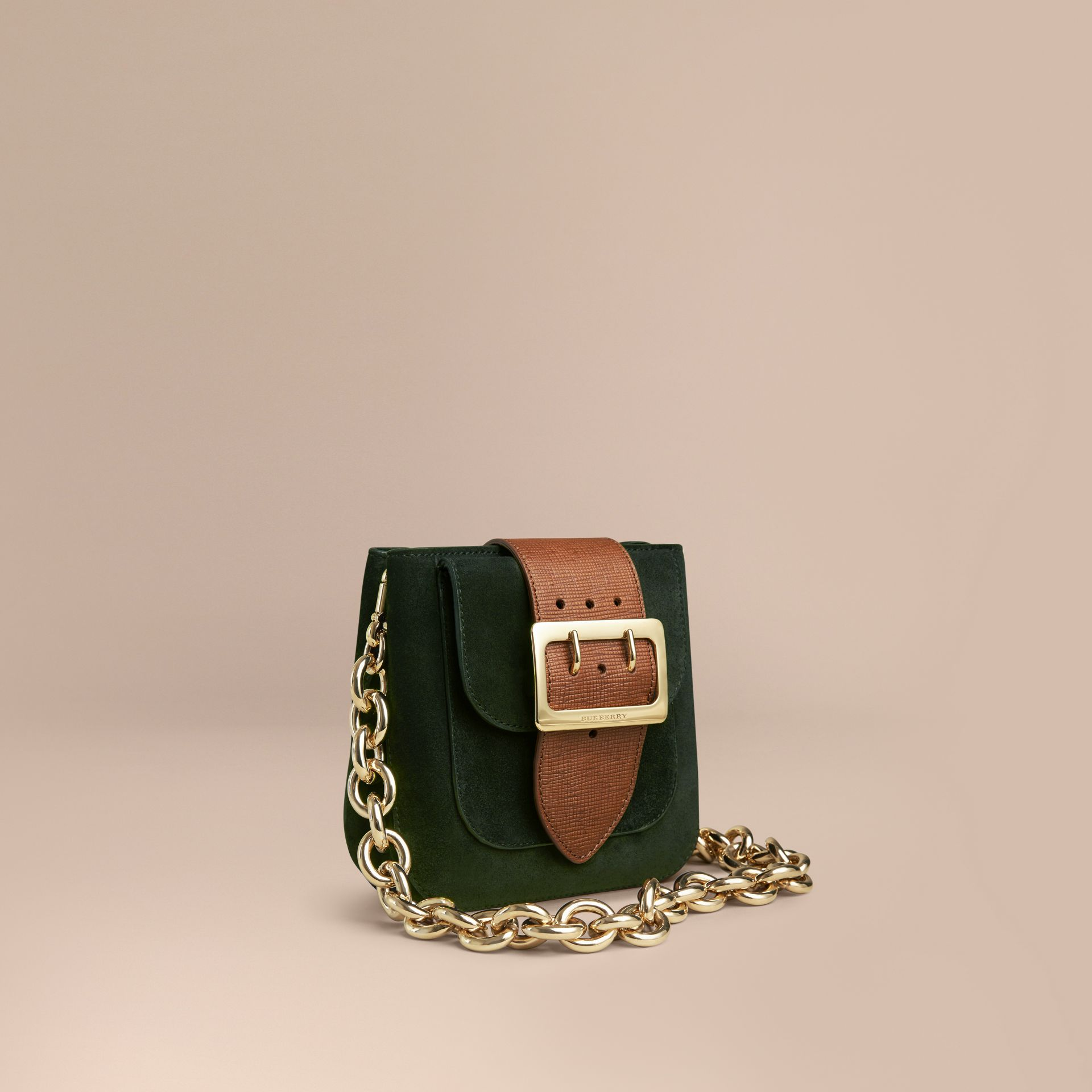 Dark forest green The Small Square Buckle Bag in Suede and Leather Dark Forest Green - gallery image 1