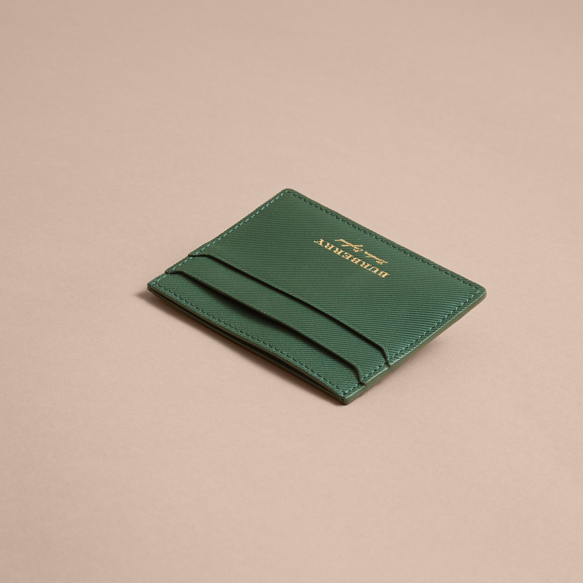 Trench Leather Card Case in Dark Forest Green | Burberry - gallery image 3
