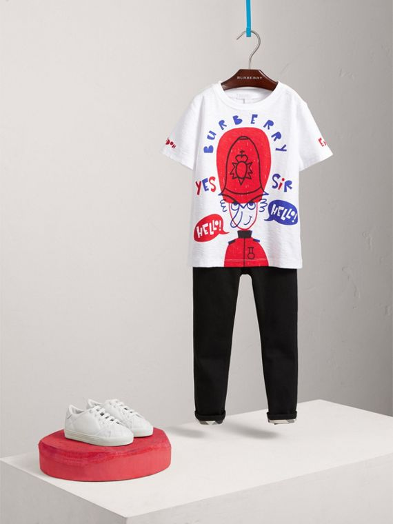 London Icons Print Cotton T-shirt in White