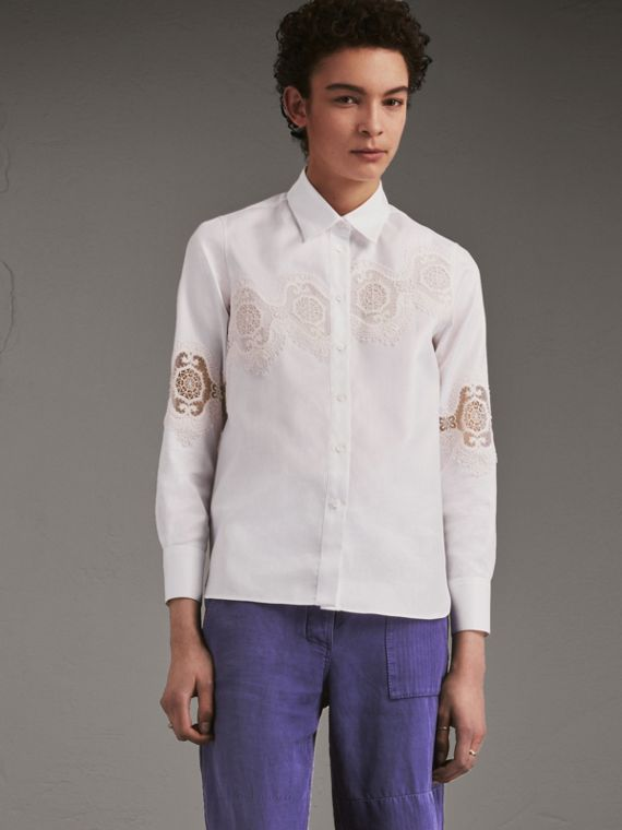 Lace Cutwork Herringbone Cotton Shirt - Women | Burberry Hong Kong