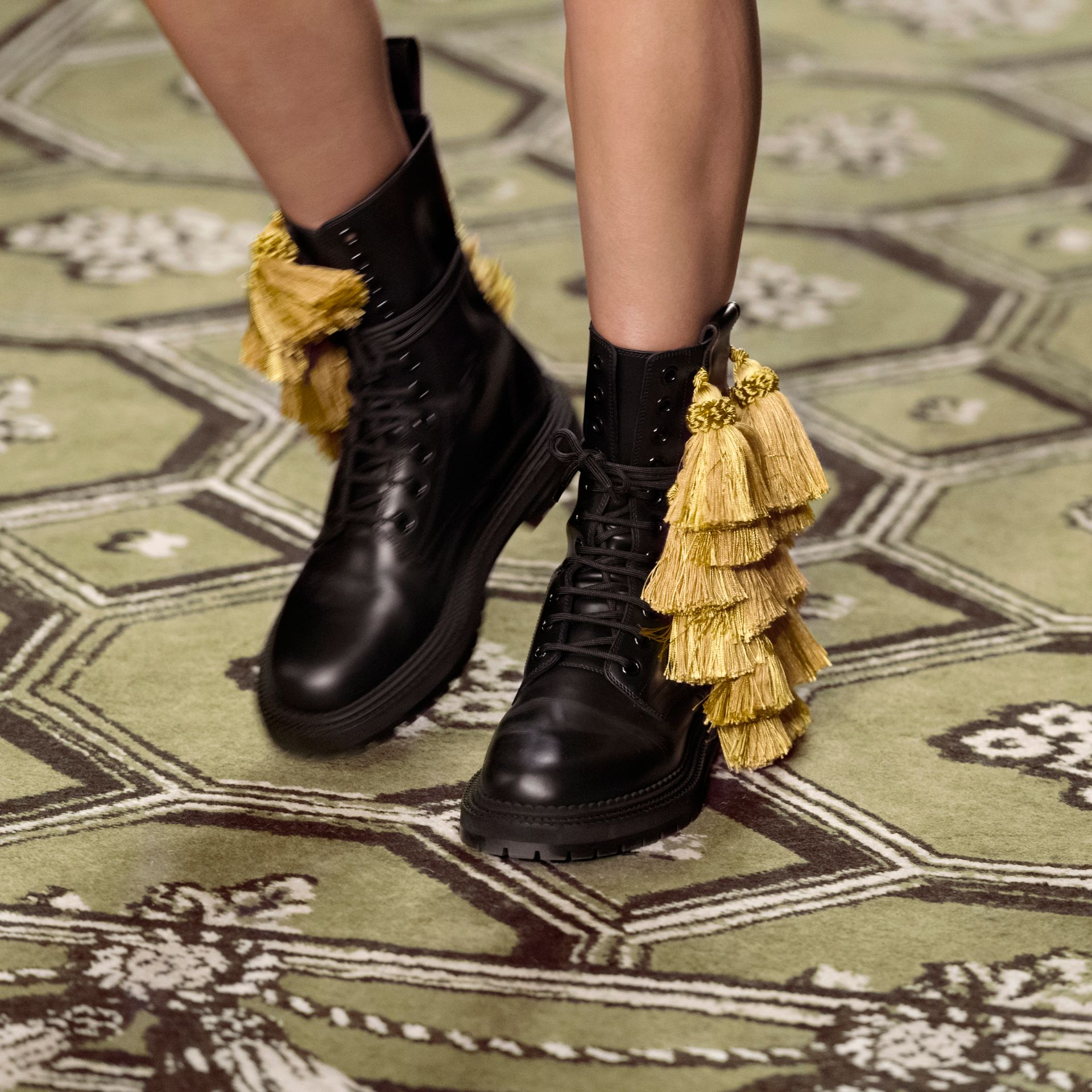 Black Tassel Detail Leather Army Boots - gallery image 6