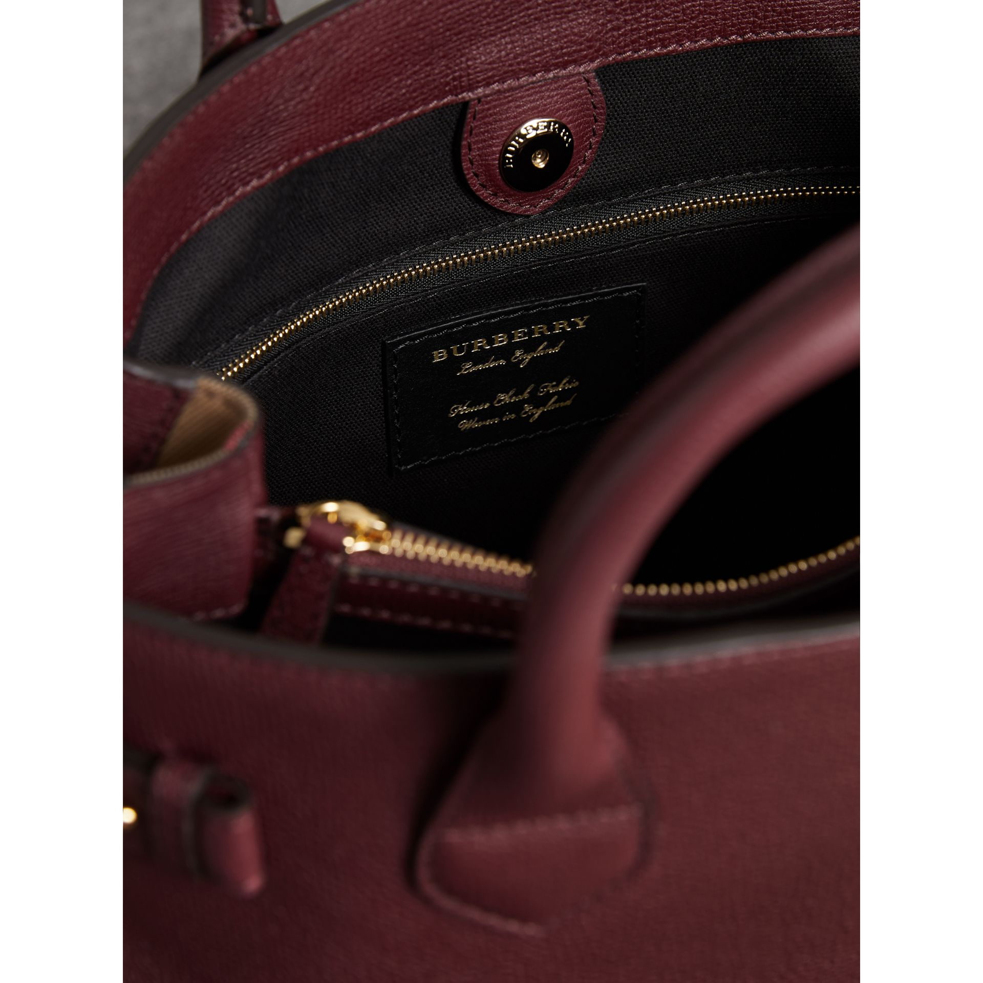 The Medium Banner in Leather and House Check in Mahogany Red - Women | Burberry United States - gallery image 5