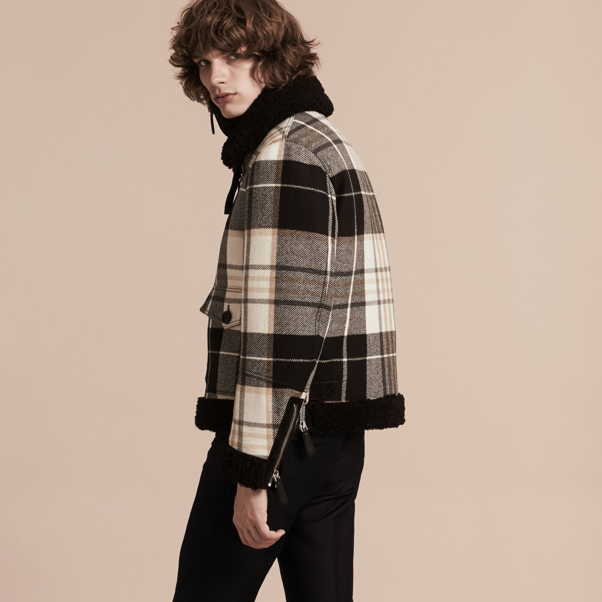 Black Shearling Trim Tartan Wool Flight Jacket - gallery image 3