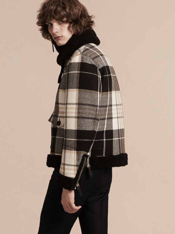 Black Shearling Trim Tartan Wool Flight Jacket - cell image 2