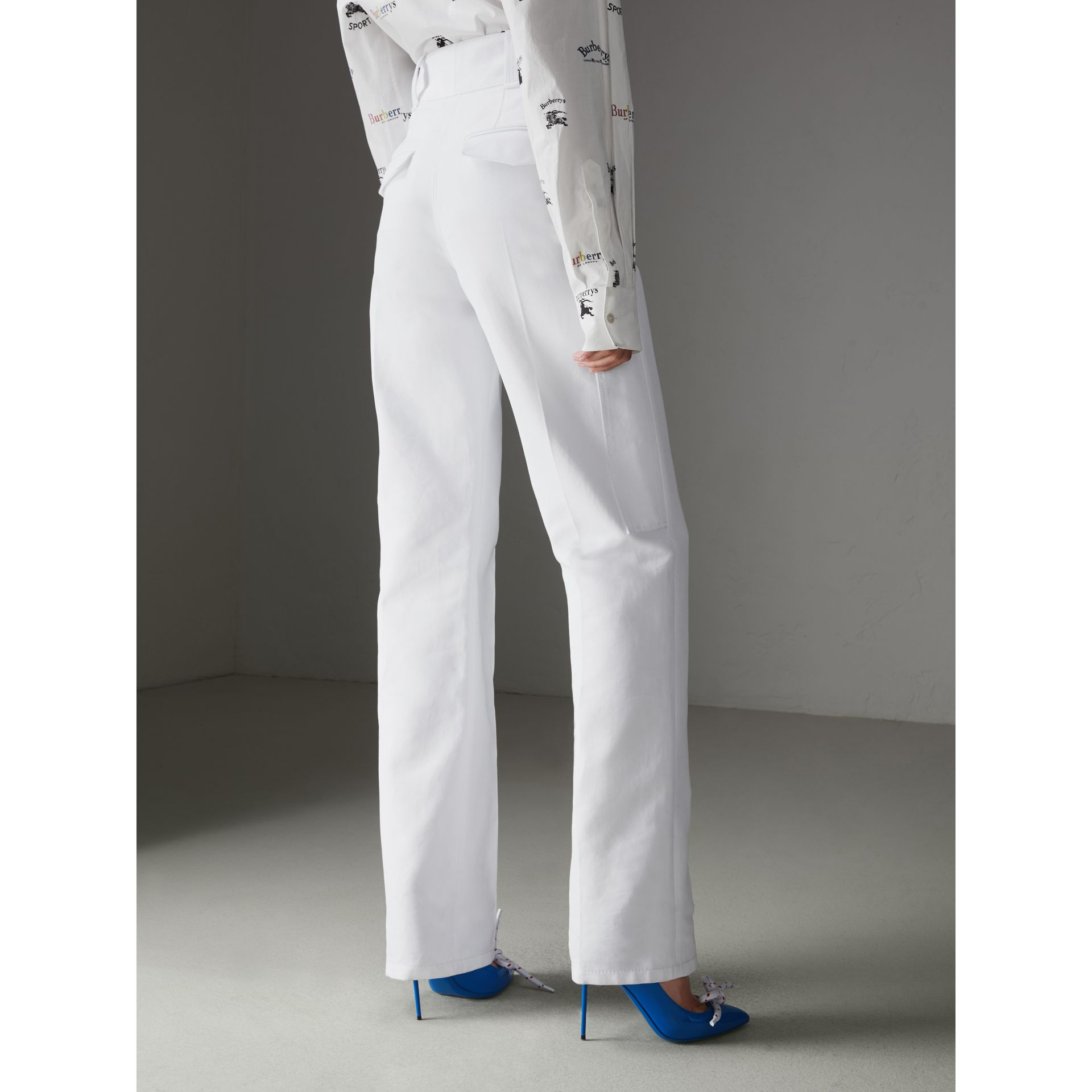 Cotton Drill High-waisted Trousers in White - Women | Burberry - gallery image 2