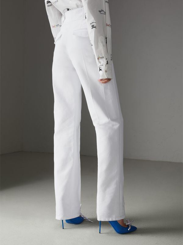Cotton Drill High-waisted Trousers in White - Women | Burberry United Kingdom - cell image 2