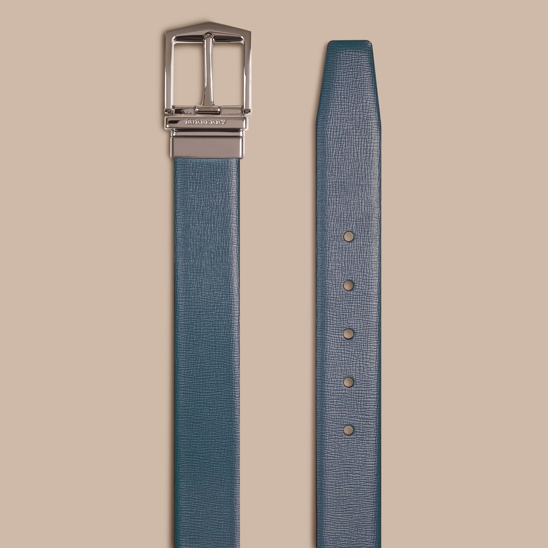 Reversible London Leather Belt Mineral Blue/black - gallery image 2
