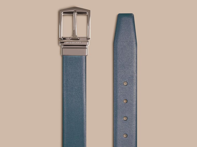 Reversible London Leather Belt in Mineral Blue/black - Men | Burberry - cell image 1