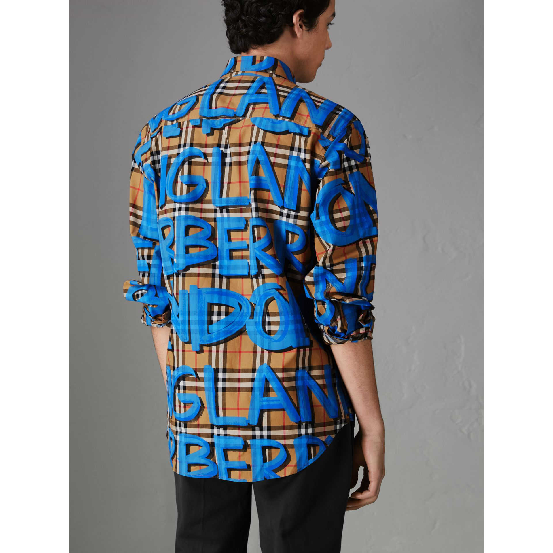 Graffiti Print Vintage Check Shirt in Bright Blue - Men | Burberry Australia - gallery image 2