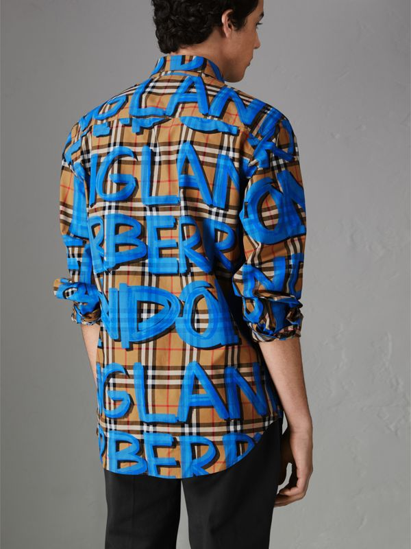 Graffiti Print Vintage Check Shirt in Bright Blue - Men | Burberry Australia - cell image 2