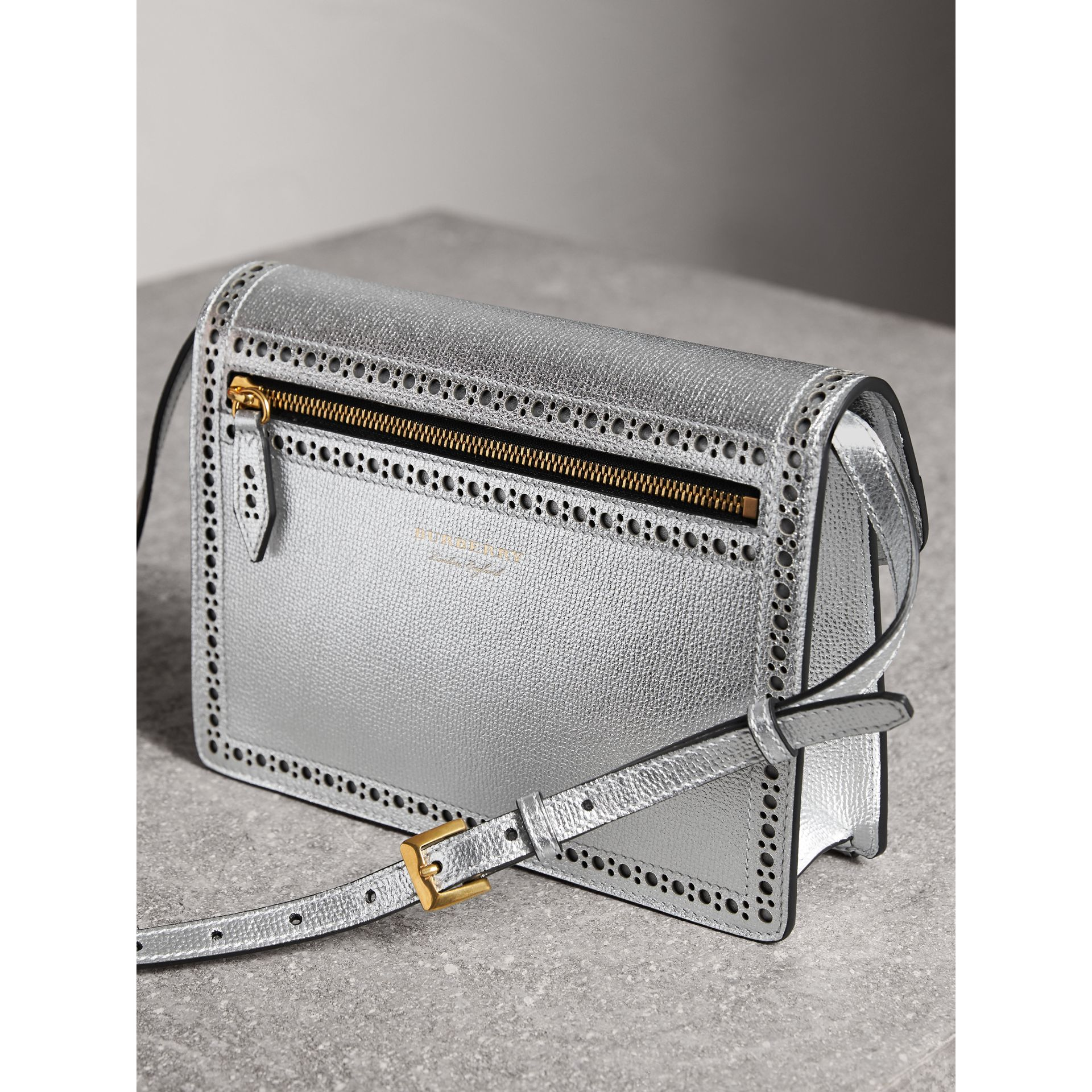 Brogue Detail Metallic Leather Crossbody Bag in Silver - Women | Burberry - gallery image 4