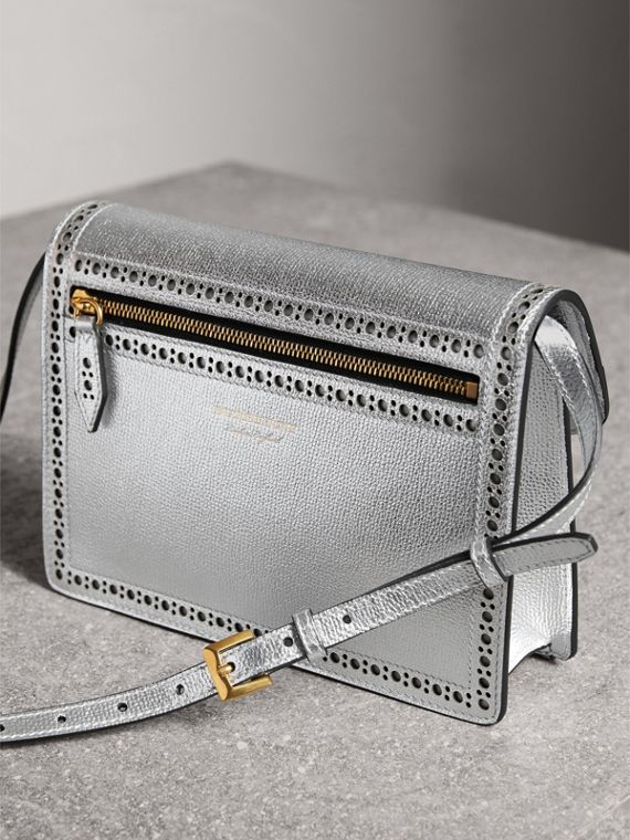 Brogue Detail Metallic Leather Crossbody Bag in Silver - Women | Burberry - cell image 3