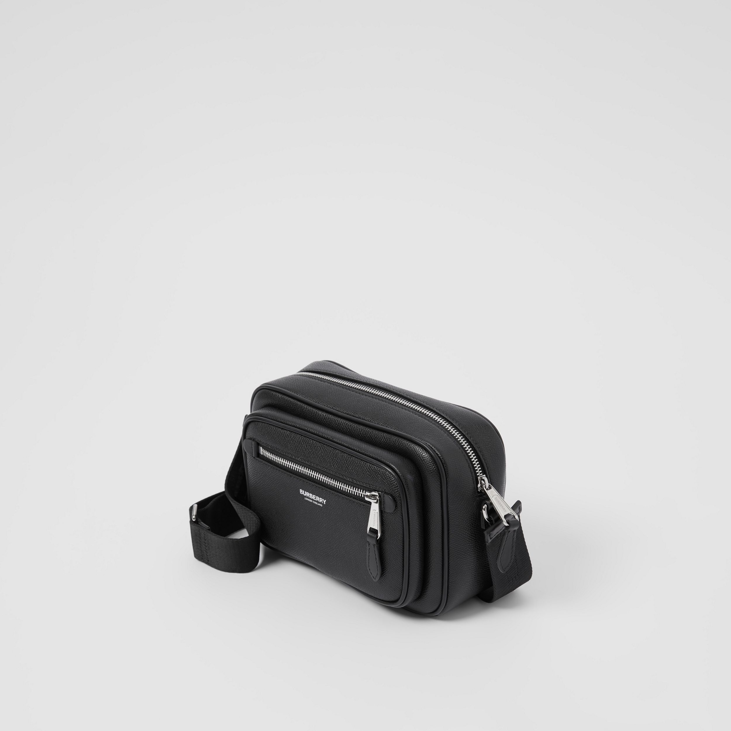 Grainy Leather Crossbody Bag in Black - Men | Burberry - 4