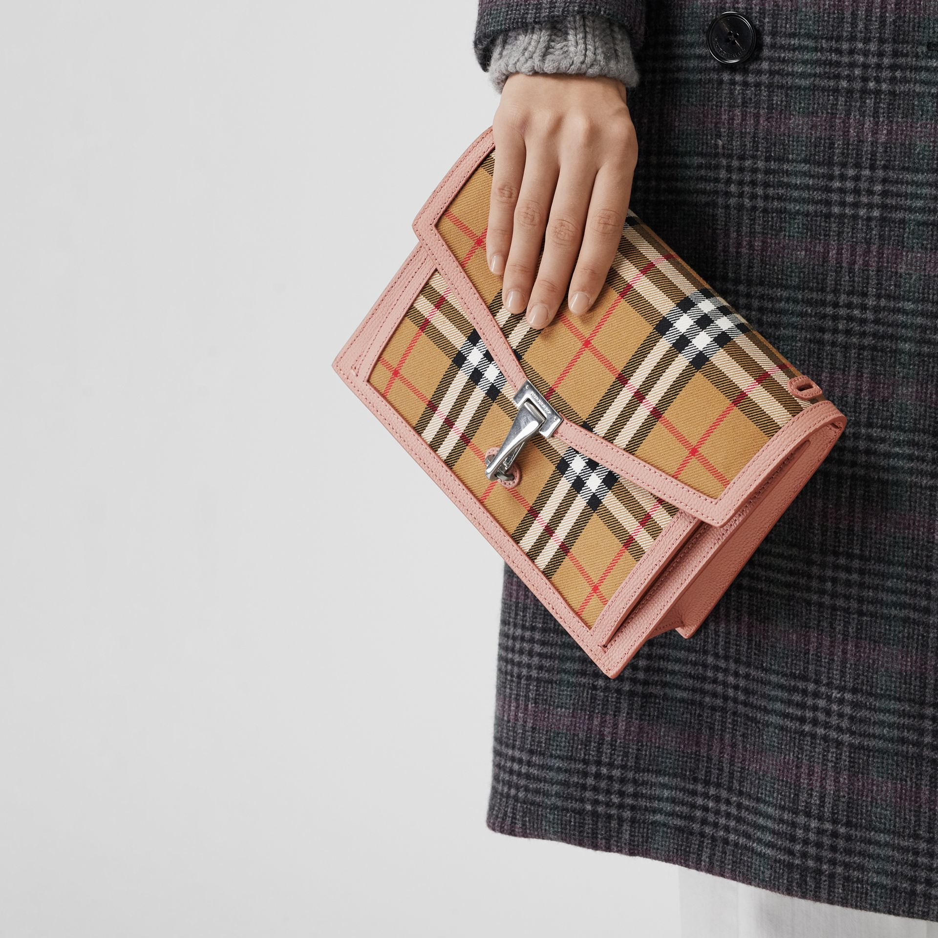 Small Vintage Check and Leather Crossbody Bag in Ash Rose - Women | Burberry Singapore - gallery image 3