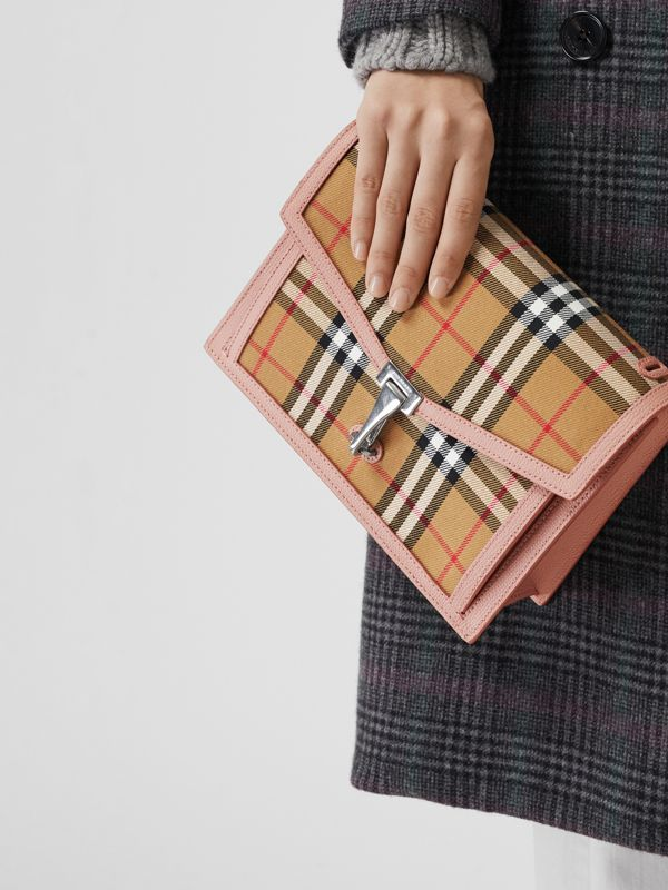 Small Vintage Check and Leather Crossbody Bag in Ash Rose - Women | Burberry - cell image 3
