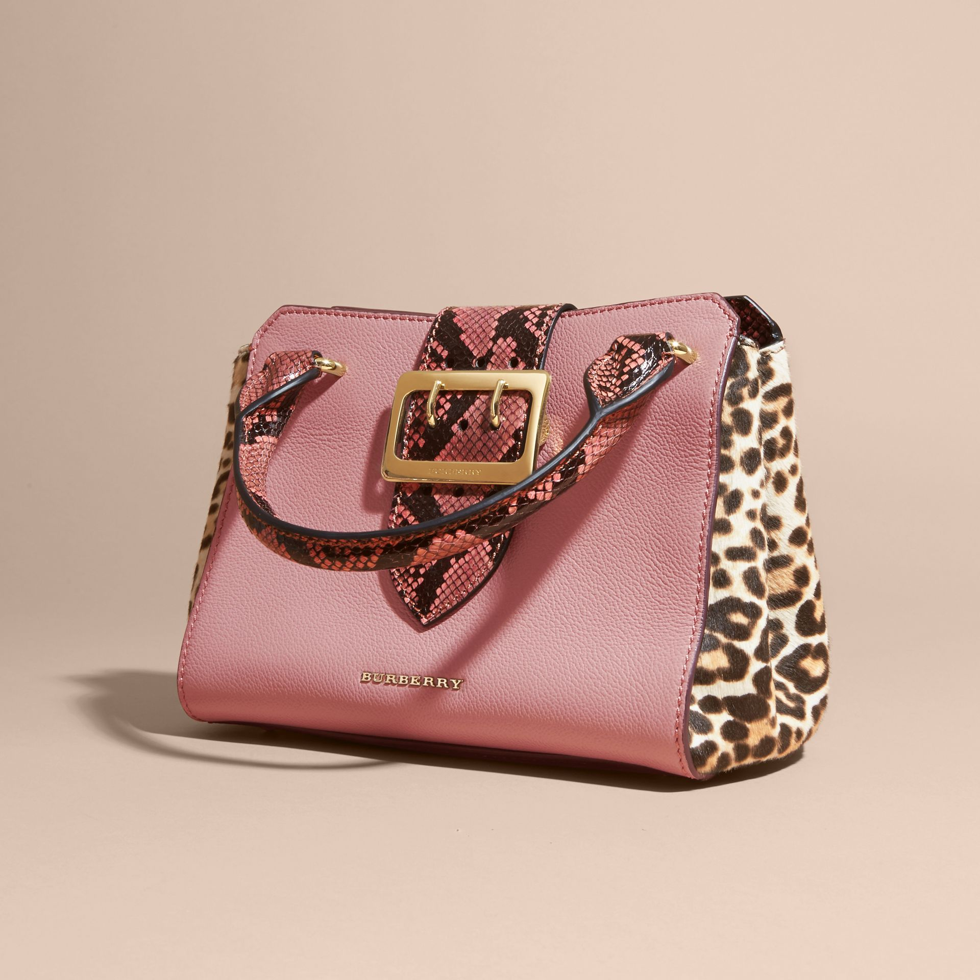 Dusty pink The Small Buckle Tote in Leather and  Leopard-print Calfskin Dusty Pink - gallery image 8