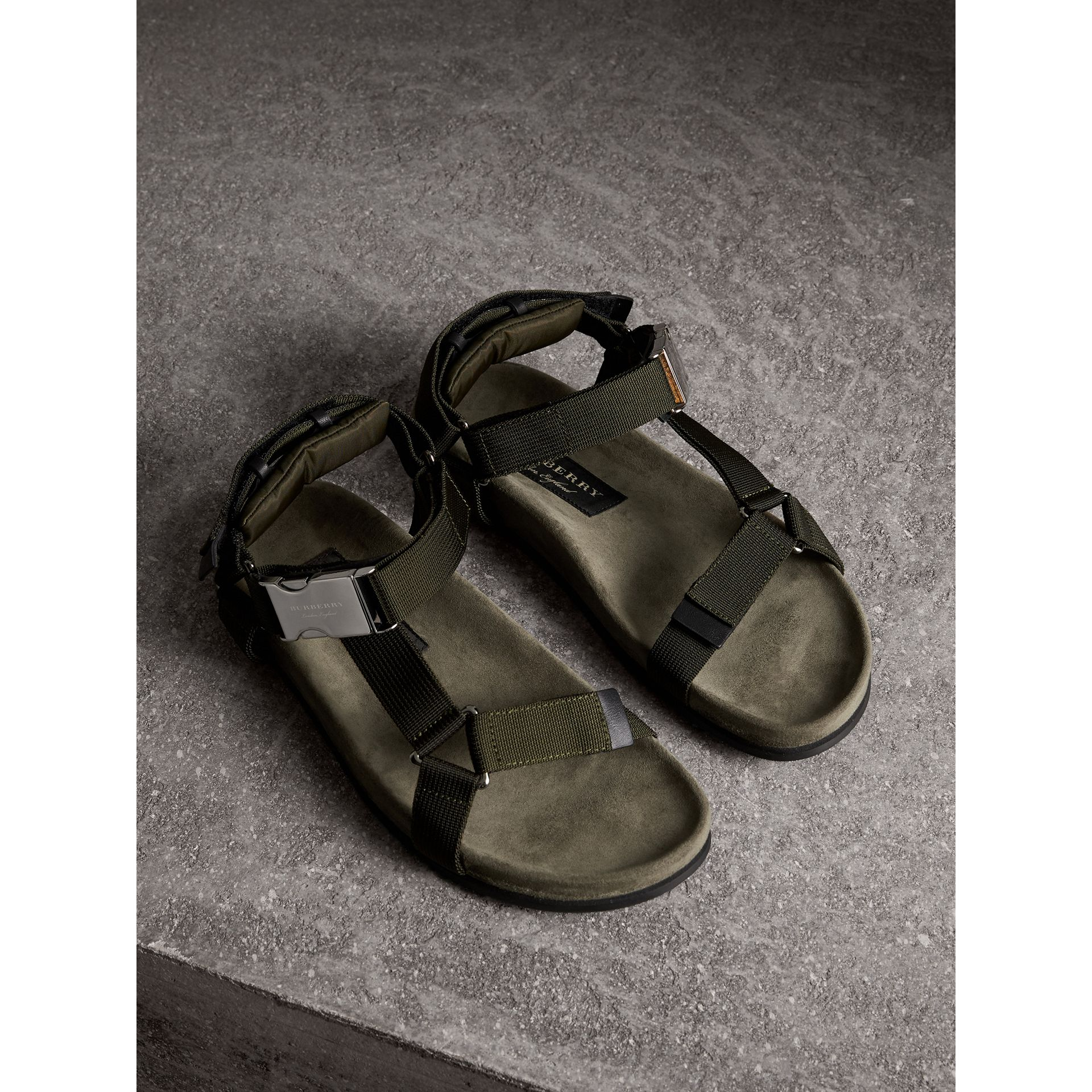 Three-point Strap Ripstop Sandals in Khaki - Men | Burberry United Kingdom - gallery image 1