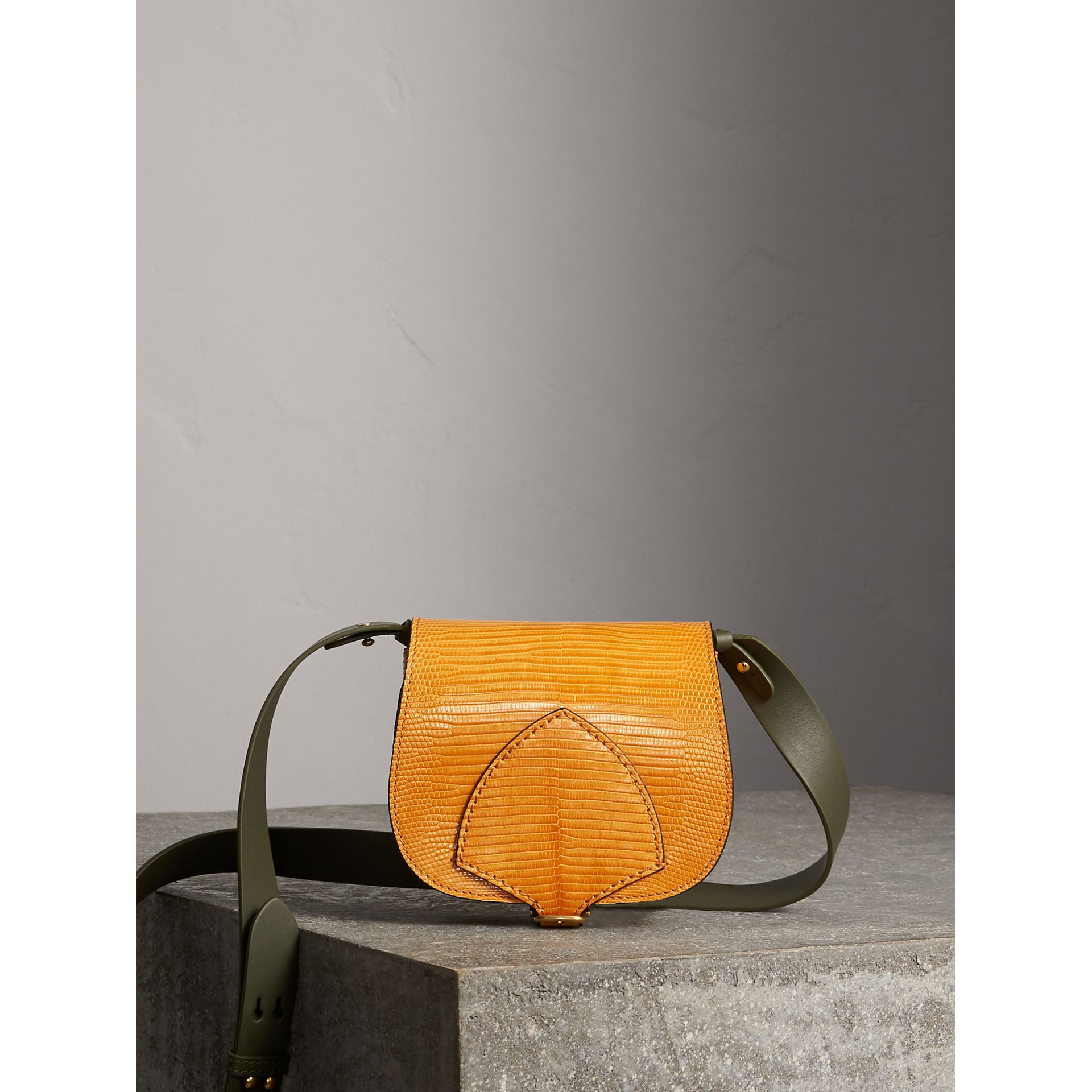 The Satchel in Lizard in Amber Yellow - Women | Burberry United Kingdom - gallery image 0