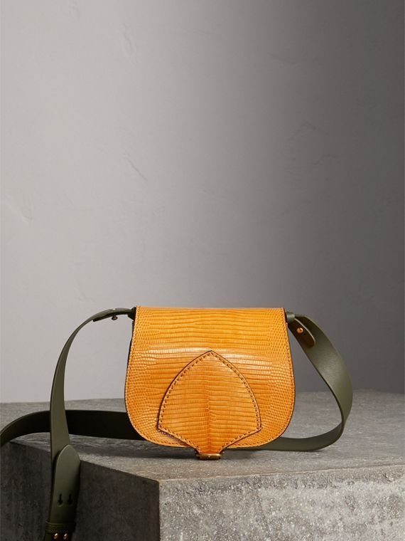 The Satchel in Lizard in Amber Yellow