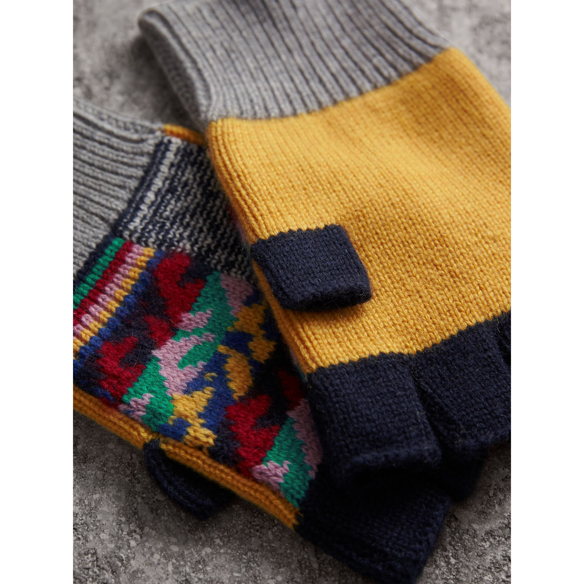Cashmere Wool Fingerless Patchwork Gloves in Yellow | Burberry - gallery image 2