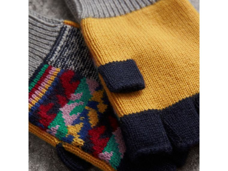 Cashmere Wool Fingerless Patchwork Gloves in Yellow | Burberry - cell image 1