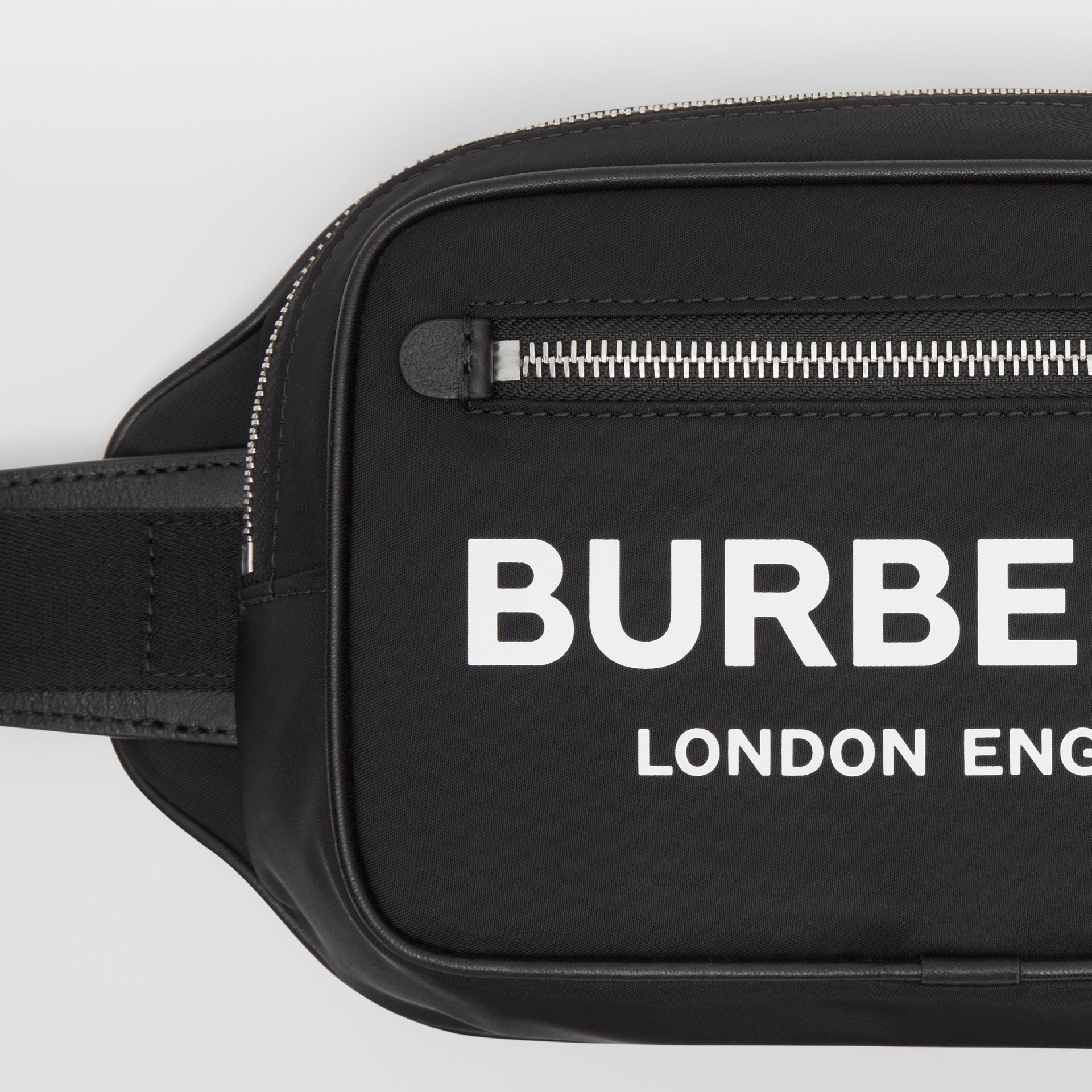 Logo Print ECONYL® Bum Bag in Black - Men | Burberry Australia - gallery image 1