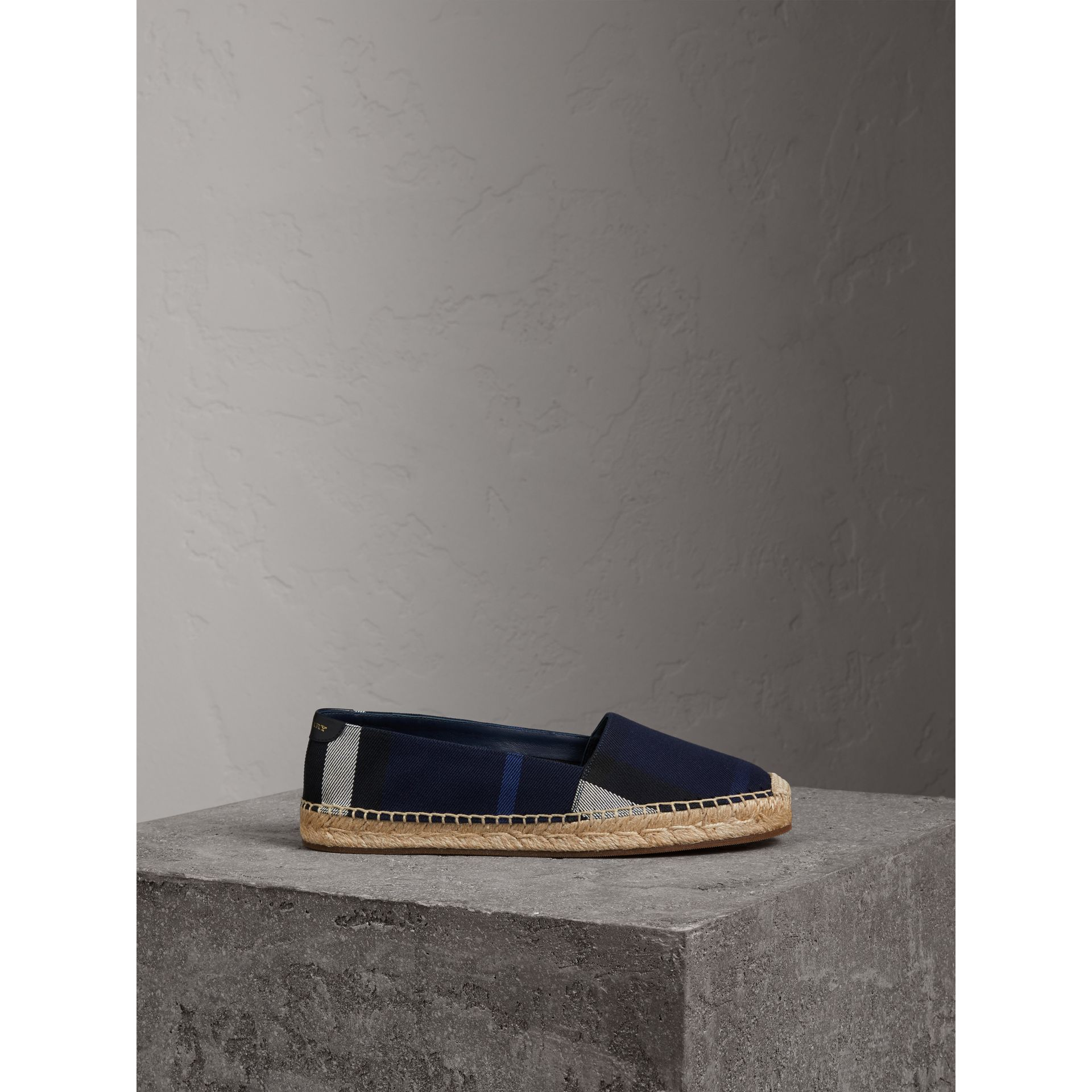 Check Cotton Espadrilles in Indigo Blue - Women | Burberry - gallery image 5