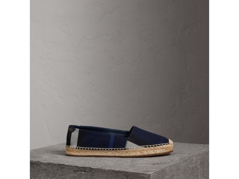 Check Cotton Espadrilles in Indigo Blue - Women | Burberry - cell image 4