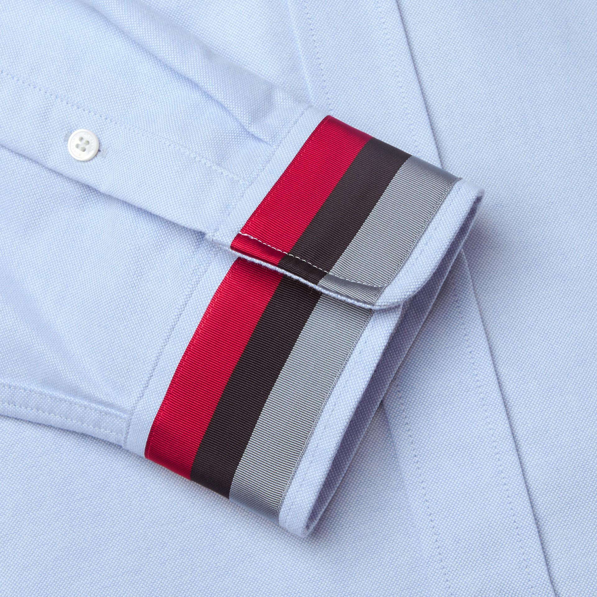 Oxford Cotton Shirt with Regimental Cuff Detail Cornflower Blue - gallery image 2