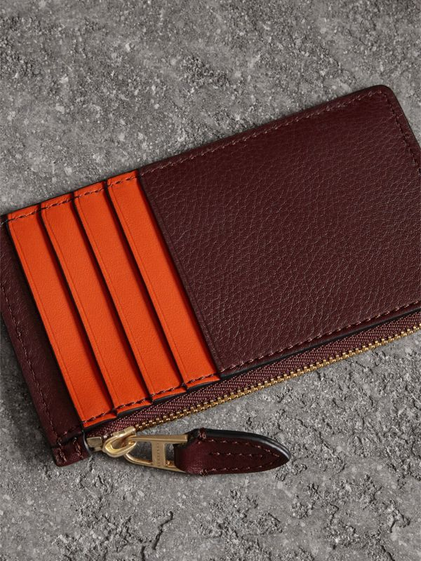 Two-tone Leather Zip Card Case in Deep Claret | Burberry - cell image 2