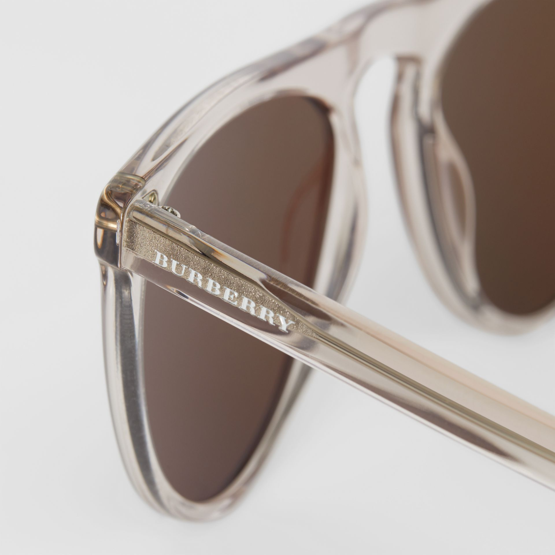 Keyhole D-shaped Sunglasses in Grey - Men | Burberry Singapore - gallery image 1