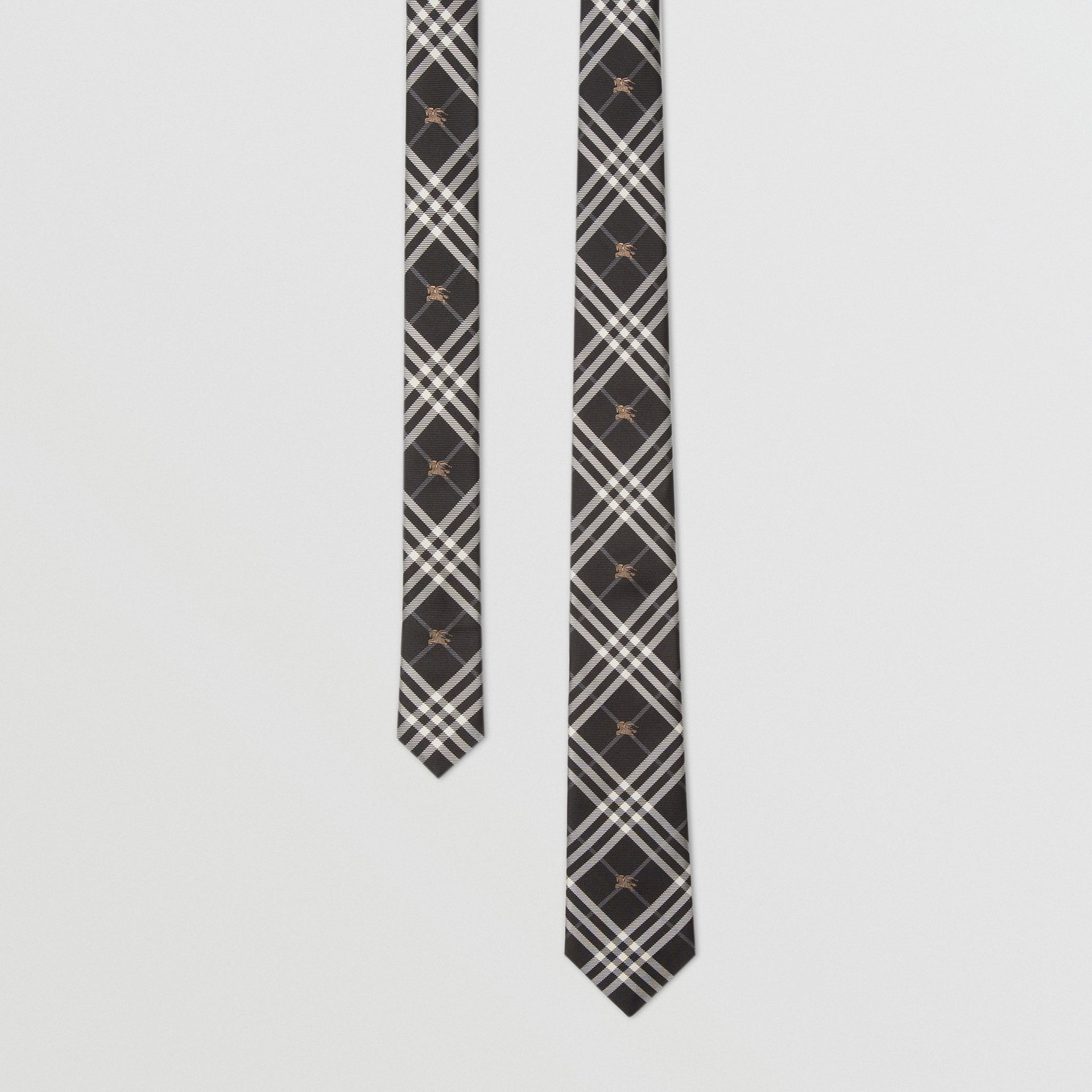 Slim Cut Equestrian Knight Check Silk Tie in Black - Men | Burberry Australia - gallery image 0